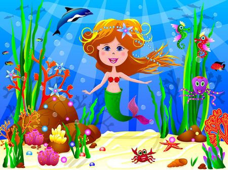 The Little Mermaid swims under water among sea creatures and underwater plants. Illustration