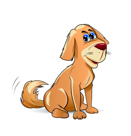 Cartoon pooch brown color on a white background.