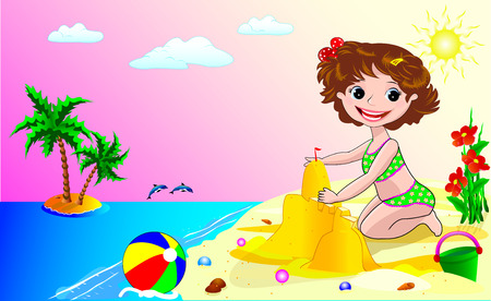 baby playing toy: A child playing in the sand on the seashore. Illustration