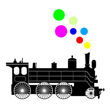 Silhouette schwarz Dampflokomotive auf einem wei�en Hintergrund.