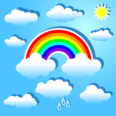 cartoon cloud: Clouds and rainbow on a blue background.