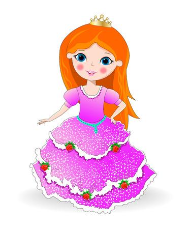 Kleines M�dchen in einem rosa Kleid und eine Krone tr�gt. Kleine Prinzessin . Illustration