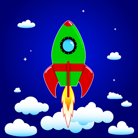 Space rocket on a background of blue sky and clouds. Illustration