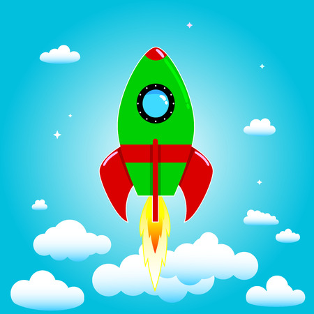 astronautics: Space rocket on a background of blue sky and clouds. Illustration