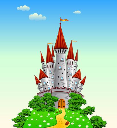 Cartoon castle on the hill.