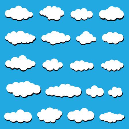 Wei�e Wolken auf einem blauen Hintergrund. Abstrakt wei�en Wolken. Illustration