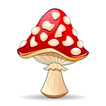 grebe: Mushroom amanita. Spotted red mushroom on a white background. Mushroom hat red with white spots.