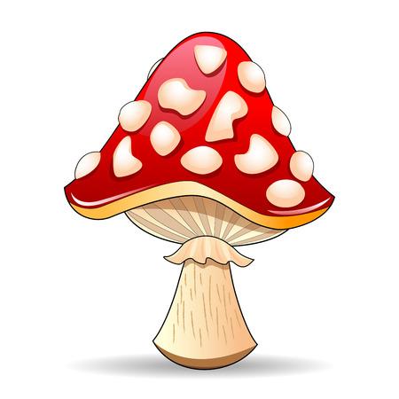 Mushroom amanita. Spotted roter Pilz auf einem wei�en Hintergrund. Mushroom M�tze rot mit wei�en Flecken.