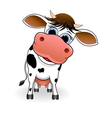 Cartoon spotty cow on a white background. Иллюстрация