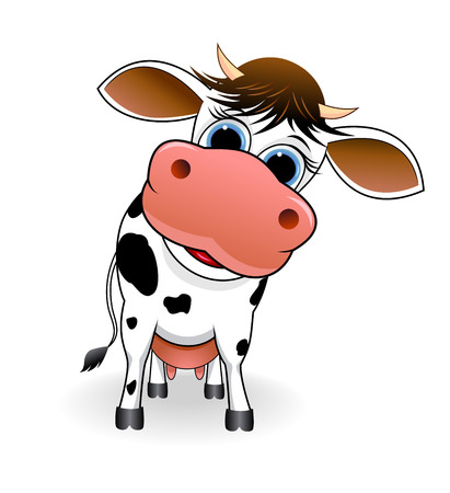 Cartoon spotty cow on a white background. Illustration
