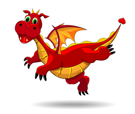 Red  dragon  on a white background. Flying dragon. Ilustrace