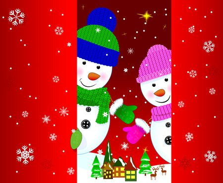 Two snowmen on a background of a winter landscape.