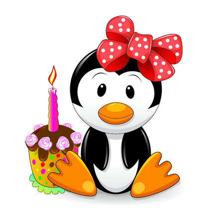 Cartoon penguin with cake. Penguin sitting next to cake.