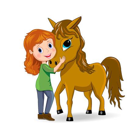 little girls: Little girl standing next to a horse.