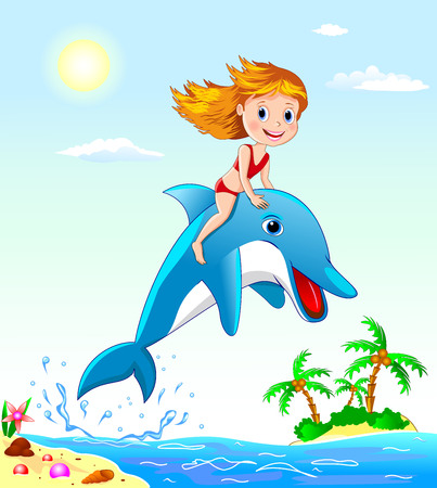 Little girl sits astride a dolphin. Girl playing with a dolphin. Illustration