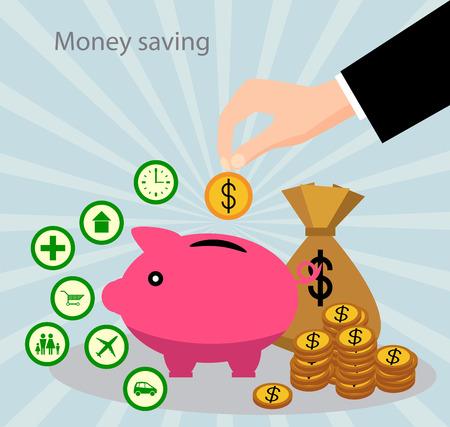 The concept of saving money. Money accumulation concept. Illustration