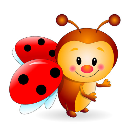Ladybird  cartoon  on a white background. Cartoon insect red. Illustration