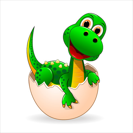Petit dinosaure vert qui vient éclos de l'oeuf.