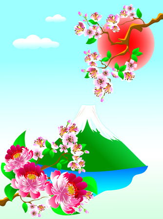 mountaintop: Mount Fuji, flowers and blooming cherry. Landscape with cherry blossoms and Mount Fuji.