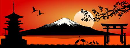 Silhouette Fuji mountain at sunset. Landscape, Mount Fuji.