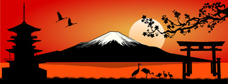Silhouette Fuji mountain at sunset. Landscape, Mount Fuji.
