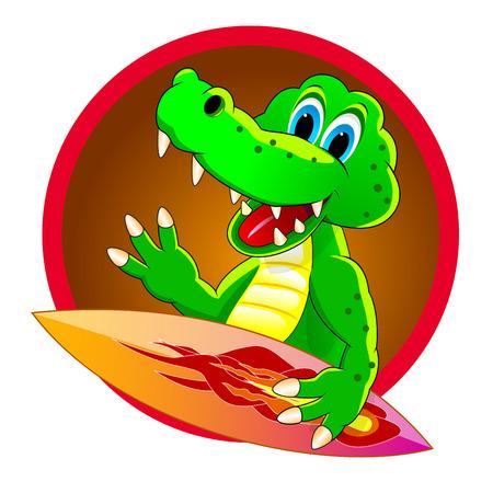 Cartoon surfer crocodile. Crocodile with a board for surf. Icon surfer crocodile. Illustration