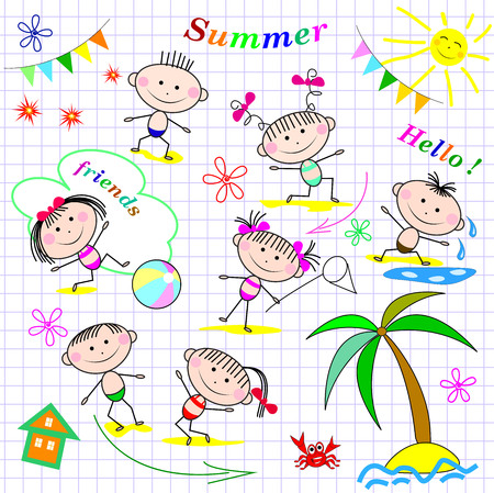 Small children at the beach. Children having fun and relaxing in the summer. Illustration