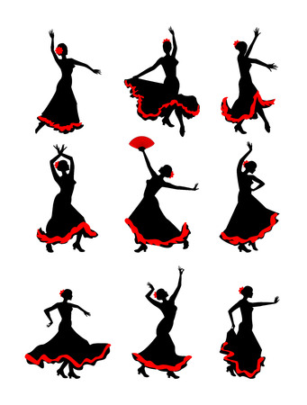 Het meisje dansen flamenco silhouet op een witte achtergrond. Flamencodanseres silhouet set. Stockfoto - 63415937