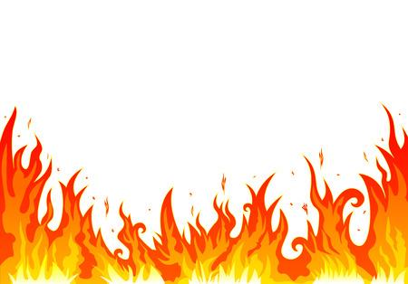 Flames feu brûlant. Résumé feu sur un fond blanc.
