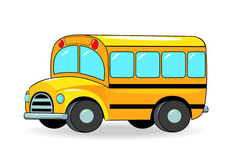 autobus: School bus cartoon of yellow color on a white background.