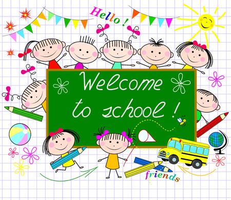 A group of children on the background of the school board greeting. Cartoon children schoolchildren. Vektoros illusztráció