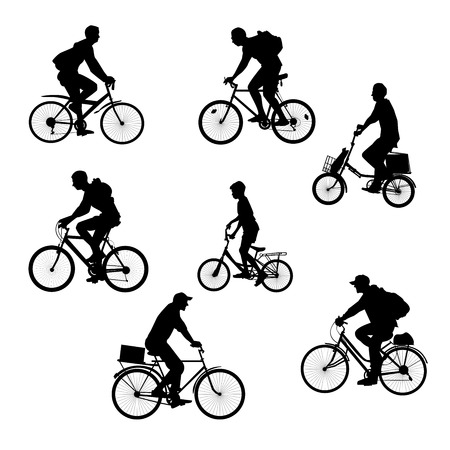 Set cyclists, bikers silhouettes on a white background. Men on bicycles. Illustration