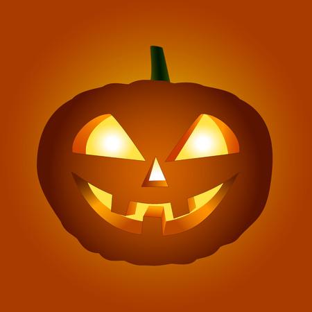 Halloween pumpkin with glowing eyes on orange-red background. Illustration