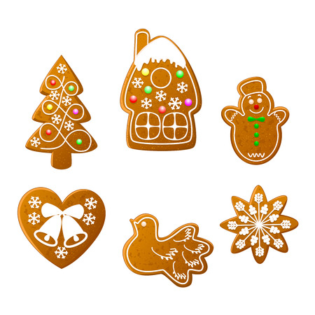Christmas cookies set on a white background. Christmas gingerbread. Illustration