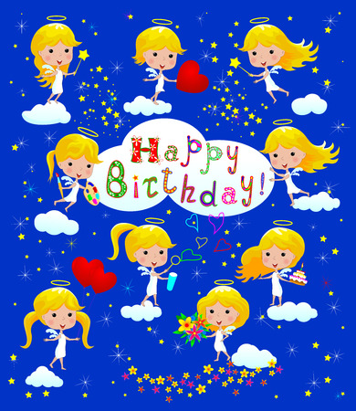 Greeting Birthday card with angels. Cartoon little angels. Small children . Kids text. The sky is blue with clouds and stars. Cartoon congratulatory text.