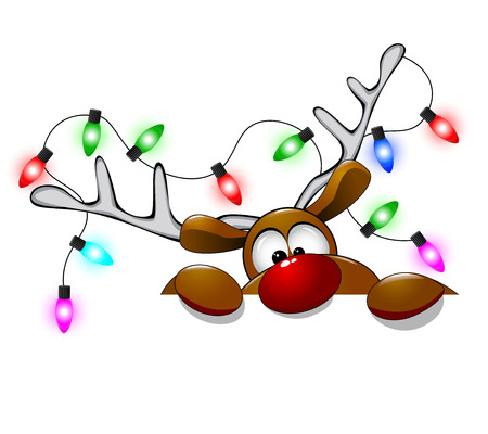 Cartoon reindeer on greeting cards with Christmas. Ilustrace