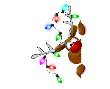 Cartoon reindeer on greeting cards with Christmas. Illustration