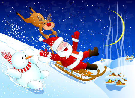 Santa, reindeer Rudolph and a snowman merrily down from the snow hill                                            Santa, reindeer Rudolph and a snowman.  Santa, reindeer Rudolph and a snowman merrily down with a snow slide. Winter Christmas night. Illustration