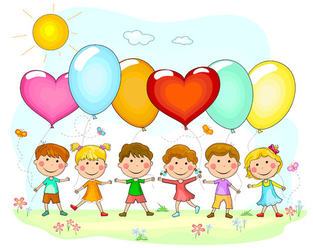 Group of children with balloons. Cartoon kids with balloons in nature. Illustration