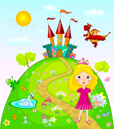 Little princess goes on a footpath. Landscape with the castle, trees and flowers. Fairy dragon, swan and frog. Illustration
