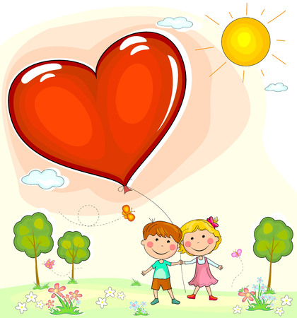 Boy and girl with balloon in the shape of a heart. Greeting card with Valentines day.