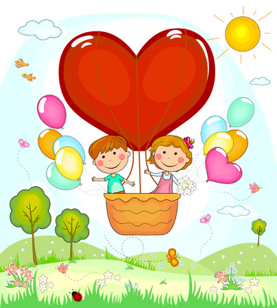 Boy and girl on the fly in a balloon. Illustration
