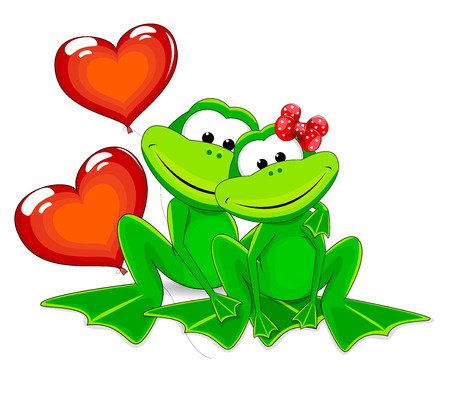 Two green frog with balloons. Frogs and two red balloons in the form of heart. Illustration