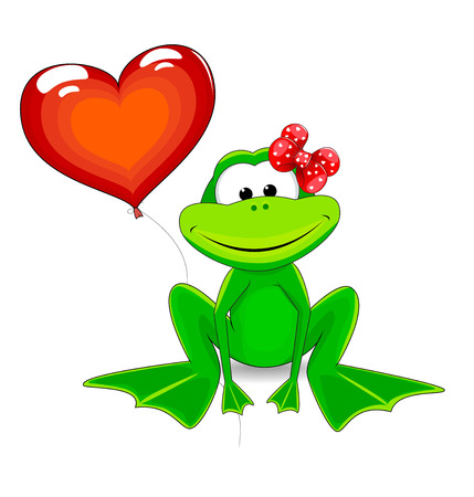 Frog and a balloon in the shape of a heart. Illustration