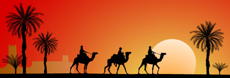 Caravan of camels in the desert. Riders on camels on the background of palm trees and sunset. Иллюстрация