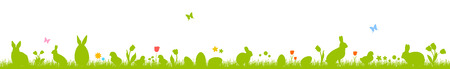 Banner with Easter eggs, rabbits, chickens and flowers. Silhouettes on a white background. Easter banner. Illustration