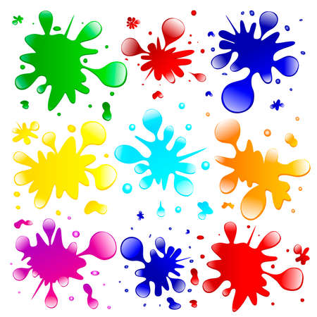 Color blots on a white background. A set of colored splashes.