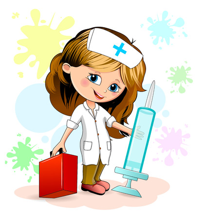 Cartoon little girl in a nurse uniform. A nurse is holding a syringe and a doctors suitcase.