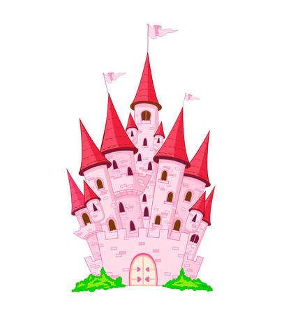 Pink cartoon castle on a white background.
