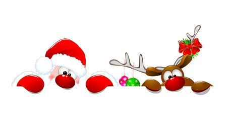 Święty Mikołaj i jeleń na białym tle. Kreskówki Święty Mikołaj i jelenie Rudolph. Ilustracje wektorowe